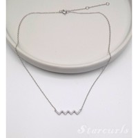 925 Sterling Silver Pave Zigzag Heartbeat Necklace (N- 1802)