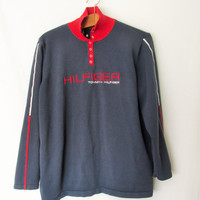 Vintage 1990s Tommy Hilfiger Ribbed Snap Pullover Sweater
