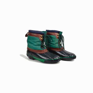Vintage Women's Duck Boots in Navy Blue & Green / Lined Winter Rain Boots Shoes - women's 7/7.5