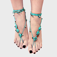 Floral Braided & Beaded Boho Barefoot Sandals - Turquoise