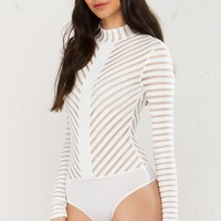 Mock Neck Long Sleeve Bodysuit in White