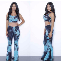 Women's Summer Light and Navy Blue Tie Dye Palazzo Pant and Bandeau Set