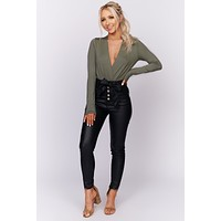 What's Your Sign Surplice Bodysuit (Light Olive)