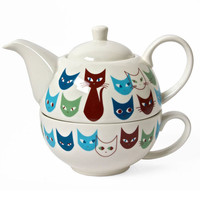 Miya Company Cat Mask Tea For One Set In White And Blue - Beyond the Rack