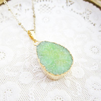 REDUCED PRICE - BLEMISHED Mint Green Druzy Necklace Bohemian Geode Gemstone Gold Layered Long Drusy Mineral Pendant Crystal Quartz Agate