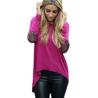 Purple Glitter Elbow Patchwork Long Back Top