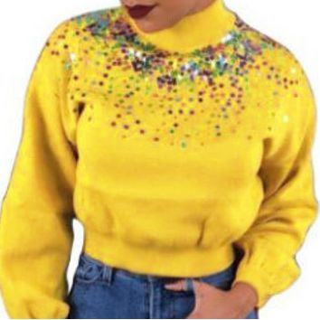 New women's fashion high neck slim short long sleeve sequined sweater