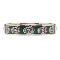 Alexander Mcqueen Green And Purple Enamel Skull Cuff