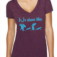 Womens acronym H.O.M.E Great Lakes T-shirt - Lake4Life - Promoting and preserving the Great Lakes lifestyle
