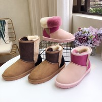 """UGG"" Womens Fashion Wool Color Splice Snow Boots"