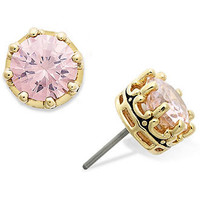 Juicy Couture Earrings, Gold Tone Princess Cut Pink Cubic Zirconia Stud Earrings (2 ct.t.w.) - Fashion Jewelry - Jewelry & Watches - Macy's