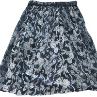 Womans Boho Hippie Mini Skirt Blue White Floral Print Gypsy Skirts