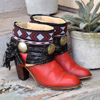 FALL SALE vintage boots | red leather cowboy boots | gypsy southwestern buckle boots | ankle boots size 10