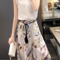 Stand Collar Sleeveless Top with High-Waisted Floral Print Pants