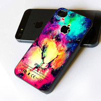 Galaxy Nebula Apple Logo - iPhone Case Print on Hard Cover - iPhone 4 Case - iPhone 4S Case - iPhone 5 Case