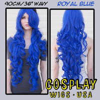 """Cosplay Wigs USA™  Curly 90cm/36"""" - Royal Blue -00332"""