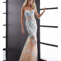 5095 Jasz Couture 2014 Prom Dresses - Light Blue & Nude Tulle Lace Overlay Mermaid Gown