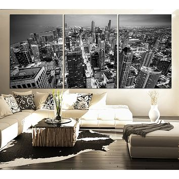 LARGE Wall Art Canvas Print Black and White Chicago Skyline 3 Panel Triptych Grayscale chicago