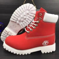 Timberland Rhubarb boots for men and women shoes waterproof Martin boots lovers Red-white