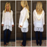Fringe With Benefits Long Sleeve Poncho - IVORY