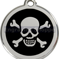 Skull & Crossbones Enamel and Stainless Steel Personalized Custom Pet Tag LIFETIME GUARANTEE ID Tag Dog Tags and Cat Tags Free Engraving