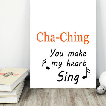 Etsy seller print-Home office decor-Office art print-Cha ching print-Etsy sign-Etsy seller gift-Small business print-Wall art quote