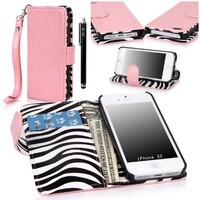 iPhone 5S Case, iPhone 5S Flip Case - E LV Deluxe PU Leather Folio Wallet Case Cover for iPhone 5S 5 (AT&T, T-Mobile, Sprint, Verizon, International Unlocked) Zebra Print inside with 1 Black Stylus and 1 Screen Protector (Apple iPhone 5/5S, Baby Pink)