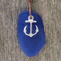 Anchor Sapphire Blue Sea Glass Necklace  by Wave of Life