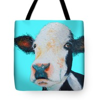 """Black and white cow on blue background Tote Bag 18"""" x 18"""""""