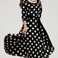 Black Polka Dot A-Line Midi Dress