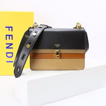 FENDI WOMEN'S KAN I LEATHER HANDBAG SHOULDER BAG