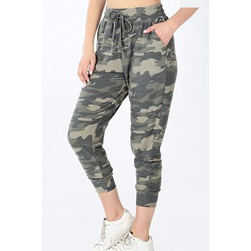 Camouflage Print French Terry Jogger Pants with Pockets