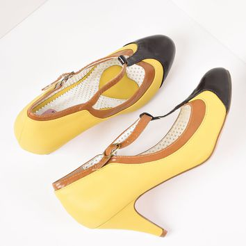 Yellow Tricolor Leatherette T-Strap Pumps