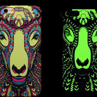So Cool Night King Sheept Animal Handmade Carving Luminous Light Up iPhone Cases for 5S 6 6S Plus Free Shipping