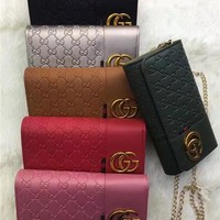 """""""Gucci"""" Fashion All-match Double G Letter Embossed Metal Chain Single Shoulder Messenger Bag Women Clutch Small Square Bag"""