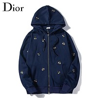 DIOR New fashion embroidery bee couple hooded long sleeve sweater Blue