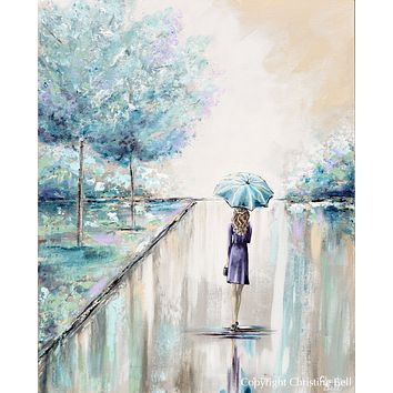 """Ready for the World"" ORIGINAL Art Painting Woman with Blue Umbrella Trees Park Textured Cityscape 24x30"""