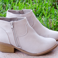 Suede Western Zipper Trim Low Heeled Ankle Boots