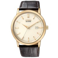Citizen Eco-Drive Men's Rose Gold Tone Watch With Brown Leather Strap