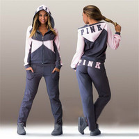PINK Victoria's Secret Fashion Multicolor Hoodie Pants Trousers Set Two-Piece Sportswear