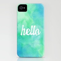 """""""Hello"""" Blue/Green Watercolor iPhone Case by StaciaE 