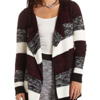 Marled Striped Open Front Sweater by Charlotte Russe - Black Combo