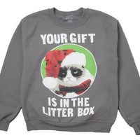 Grumpy Cat - Your Gift is in the Litterbox - Fleece Sweatshirt