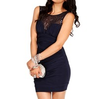 Navy Sequin Ruched Dress
