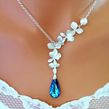 Blue Necklace BERMUDA BLUE PEACOCK Silver ORCHIDs Wedding Bridal - Vivian Feiler Designs | Wedding