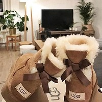 """""""UGG"""" Winter Popular Women Lovely A Bowknot Wool Snow Boots Brown I/A"""