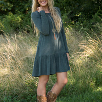 Forever Remembered Tiered Dress - Hunter Green