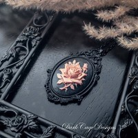 Victorian Mourning/ Gothic/ Dark Mori/ Romantic Noir/ Black And Dusty Mauve Rose Cameo Necklace