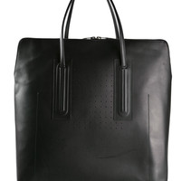 Large Leather Tote in Black
