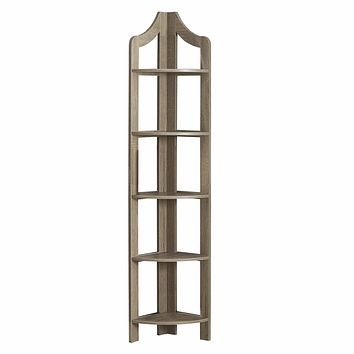 "Corner Shelf Unit - 12'.25"" x 17'.5"" x 71"" Dark Taupe, Particle Board, Corner Accent Shelf - Bookcase"